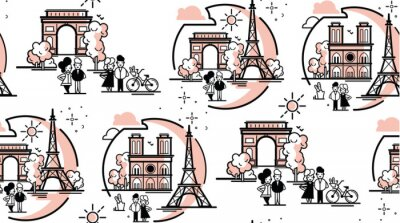 Tapeta Ilustracja wektorowa Paryża.