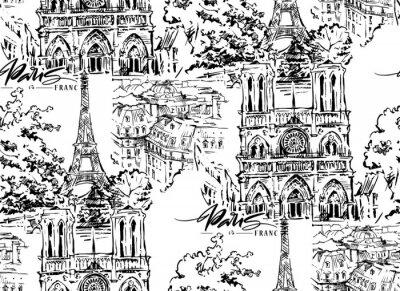Tapeta Ilustracja wektorowa Paryża. Ręcznie rysowane grafiki wektorowej.