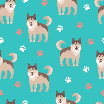 Tapeta Ilustracji wektorowych. Husky, miły przyjacielski zwierzak. Bez szwu pat
