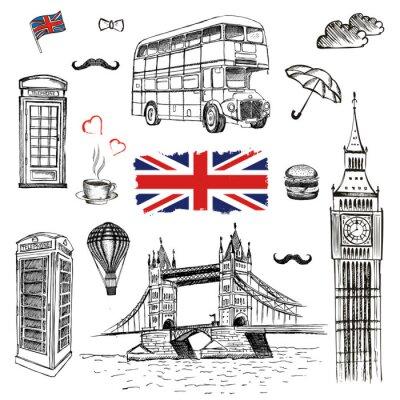 Tapeta Ilustracji wektorowych rę cznie rysowane z symbolami Londynu