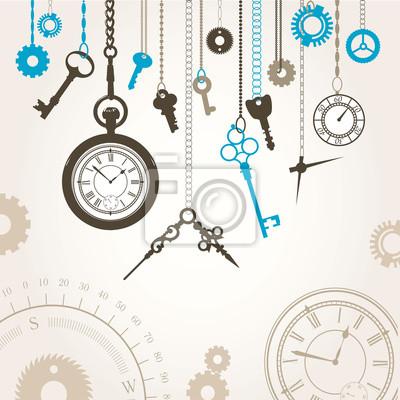 Tapeta Ilustracji wektorowych tarczy, kompas, klucze i części godzinę