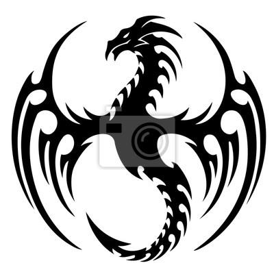Tapeta Ilustracji Wektorowych Tribal Tatuaz Smoka Design Czarno