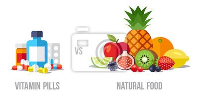 Tapeta ilustracji wektorowych z witaminowych tabletek vs. naturalnej żywności. Zdrowe koncepcji jedzenia. Płaski stylu.