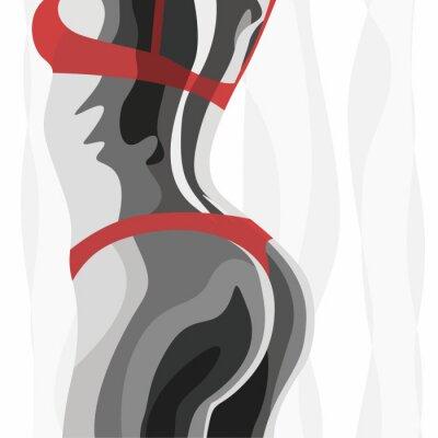 Tapeta Ilustracyjna czarna biała kobieta z czerwonym dessous
