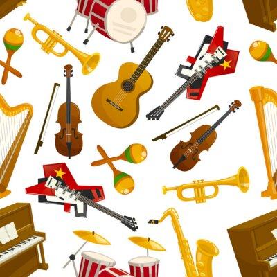 Tapeta Instrumenty muzyczne bez szwu wektor wzór