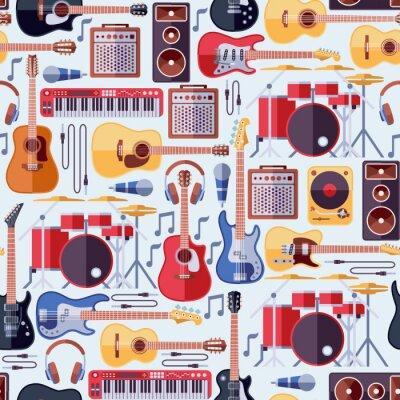 Tapeta Instrumenty muzyczne bezszwowe tło wektor