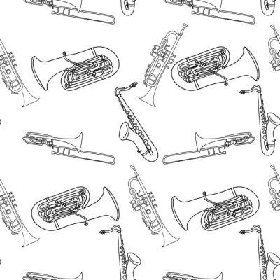 Tapeta Instrumenty Muzyczne szwu wzór mosiądz