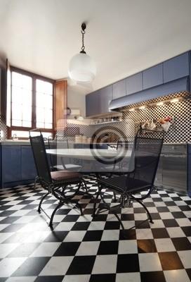 Tapeta interno di grande cucina e bella, stile liberty • czarny ...