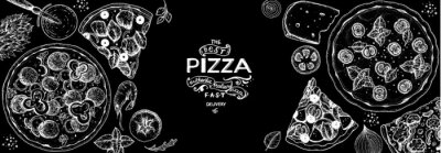 Tapeta Italian pizza and ingredients top view frame. Italian food menu design template. Vintage hand drawn sketch, vector illustration. Engraved style illustration. Pizza label for menu.