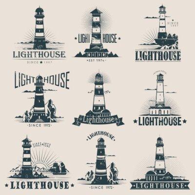 Tapeta Izolowane latarnia morska na szkicach morza lub oceanu