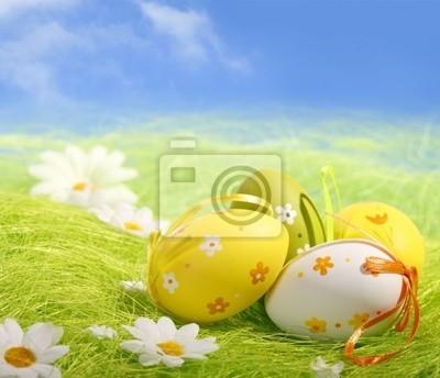 Jaja wielkanocne siedzi na trawie