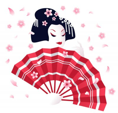 Tapeta Japanese geisha with a red traditional fan and sakura flowers. Cherry blossom season in Japan, vector illustration.