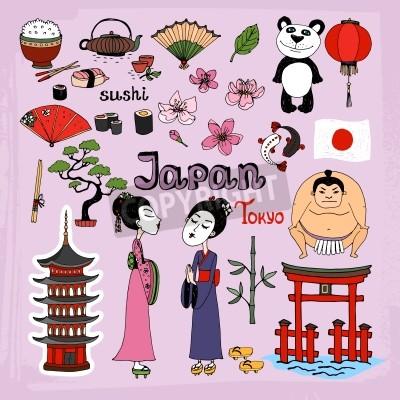 Tapeta Japonia zabytków i ikony kultury Wektor zestaw z Geisha girls Torii Gates fani zapaśnik sumo panda papier latarni bonsai wiśni kwiat bambus herbaty koi i ryżu
