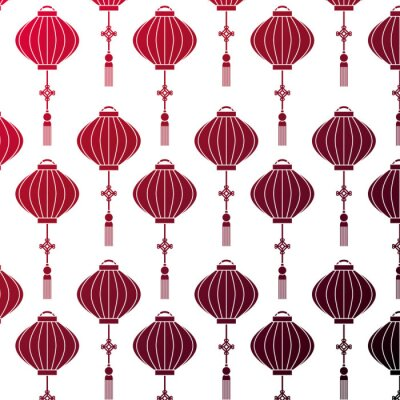 Tapeta Japoński lampowy wiszący deseniowego tła wektorowego ilustracyjnego projekt