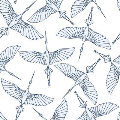 Tapeta Japoński wzór z piękne żurawie. Chiński wektorowy tło z latającymi ptakami. Ornament z orientalnymi motywami.