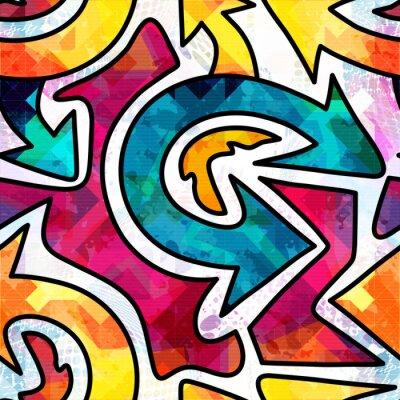 Tapeta Jaskrawy abstrakcjonistyczny geometryczny bezszwowy wzór w graffiti stylu. Ilustracja wektorowa jakości do swojego projektu