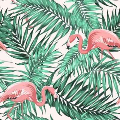 Tapeta Jasnozielonej tropikalnej dżungli liści palmowych lasów tropikalnych. Pink egzotycznych flamingo wading ptaków para. Bez szwu deseń tekstury na światło beżowym tle. Ilustracji wektorowych projektu.
