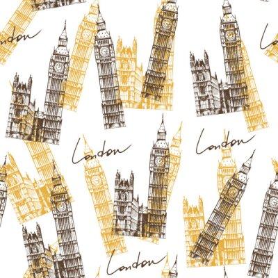 Tapeta Jednolite tło z Big Ben (Elizabeth Tower), wzór podróży
