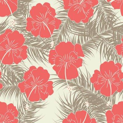 Tapeta Jednolite tropikalny wzór z brązowymi liśćmi nad czerwonymi kwiatami na tle wanilii