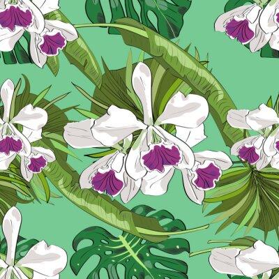 Tapeta Jednolite wektora wzór egzotycznych wektora rysowane kwiatów i liści. Tropikalne tło.
