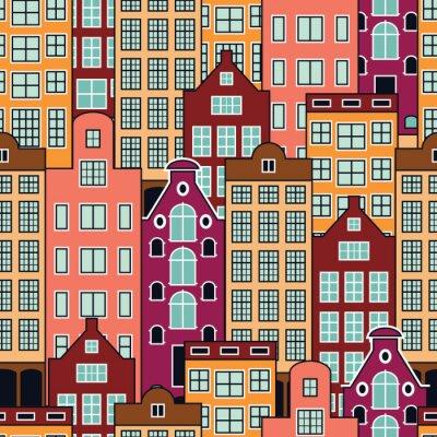 Tapeta Jednolite wektora wzór holenderskich domów. Budynki miejskie w Amsterdamie