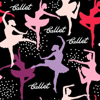 Tapeta Jednolite wektora wzór z sylwetk? Tancerka ballerinas. Balet listowy.