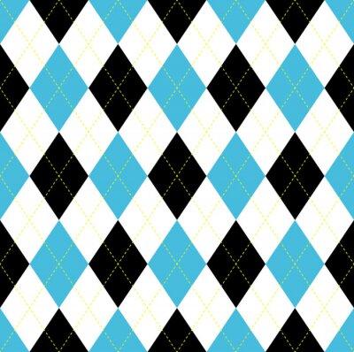 Tapeta Jednolite wzór Argyle. Niebieski, czarny i biały czek z żółtym ściegiem.