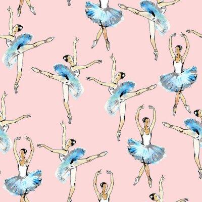 Tapeta Jednolite wzór tancerzy baletowych, czarnym i srebrnym rysunku, akwareli, samodzielnie na różowym tle.