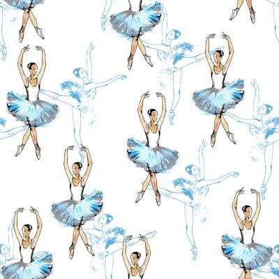 Tapeta Jednolite wzór tancerzy baletowych, czarnym, niebieskim i srebrnym rysunku, akwareli, na białym tle.