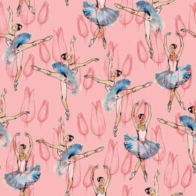 Tapeta Jednolite wzór tancerzy baletowych i przycisków tulipan, czarnym, różowym i srebrnym rysunku, akwareli, w kryciu, samodzielnie na różowym tle.