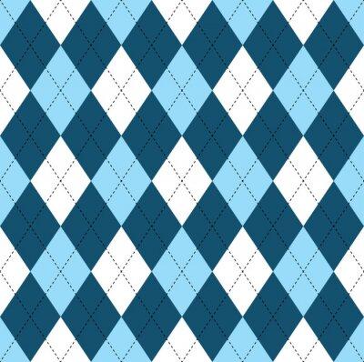 Tapeta Jednolite wzór w romby ciemnoniebieski, miękki niebieski i biały z czarnym ściegiem.