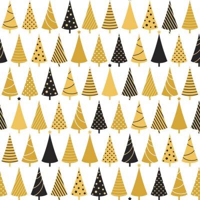 Tapeta Jednolite wzór z choinkami na wakacje zimowe w kolorach czarnym i złotym