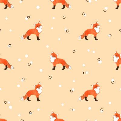 Tapeta Jednolite wzór z cute kreskówek akwarela lisów. Wektor tła.
