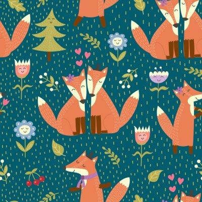 Tapeta Jednolite wzór z cute lisy w lesie. Wektor tekstury lasu