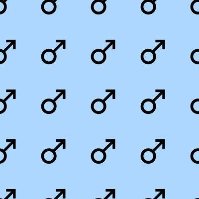 Tapeta Jednolite wzór z czarnymi symbolami płci męskiej. Mężczyzna objawy same rozmiary. Wzór na niebieskim tle. ilustracji wektorowych