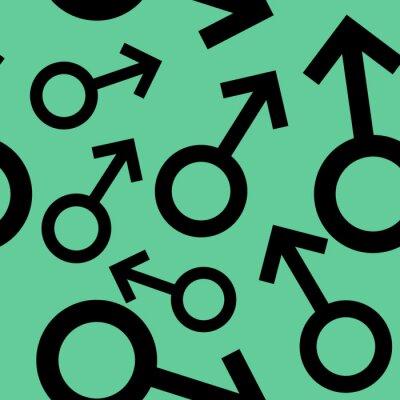 Tapeta Jednolite wzór z czarnymi symbolami płci męskiej. Mężczyzna oznaki różnych rozmiarach. Wzór na turkusowym tle. ilustracji wektorowych