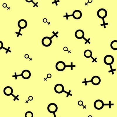 Tapeta Jednolite wzór z czarnymi symbolami płci żeńskiej. Kobieta małe oznaki różnych rozmiarach. Wzór na żółtym tle. ilustracji wektorowych