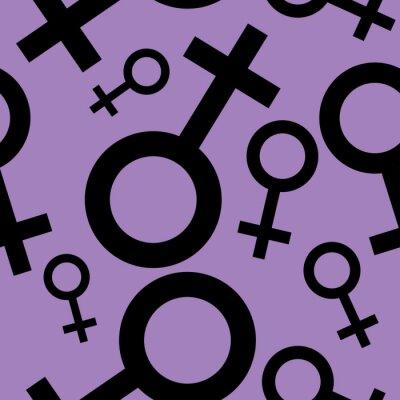 Tapeta Jednolite wzór z czarnymi symbolami płci żeńskiej. Samice oznaki różnych rozmiarach. Wzór na fioletowym tle. ilustracji wektorowych