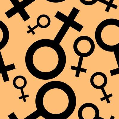 Tapeta Jednolite wzór z czarnymi symbolami płci żeńskiej. Samice oznaki różnych rozmiarach. Wzór na pomarańczowym tle. ilustracji wektorowych