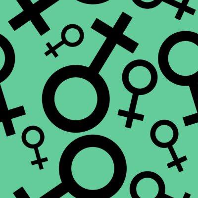 Tapeta Jednolite wzór z czarnymi symbolami płci żeńskiej. Samice oznaki różnych rozmiarach. Wzór na turkusowym tle. ilustracji wektorowych
