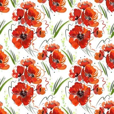 Tapeta Jednolite wzór z czerwonymi makami i zielona trawa na białym tle, abstrakcyjne rysunku, jasnych kolorach.