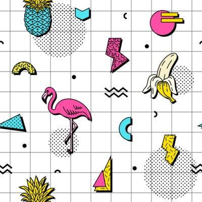 Tapeta Jednolite wzór z flamingów, banany i ananasy w stylu retro funky