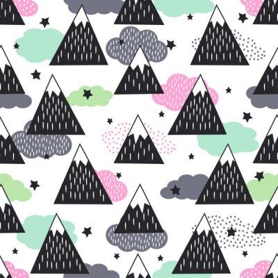 Tapeta Jednolite wzór z geometrycznych ośnieżone góry, chmury i gwiazdy. Charakter ilustracji grafik. Streszczenie góry w tle.