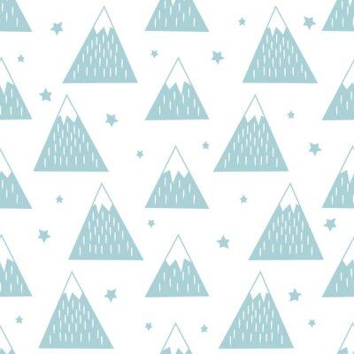 Tapeta Jednolite wzór z geometrycznych ośnieżonych gór i gwiazd. Proste charakter ilustracji. Śliczne góry w tle.
