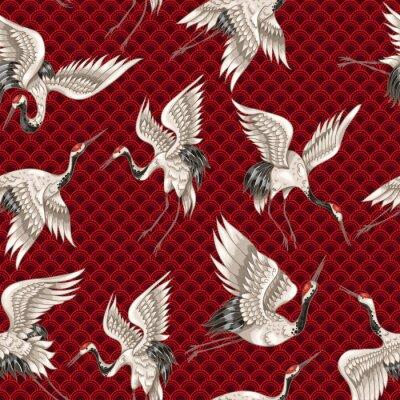 Tapeta Jednolite wzór z japońskimi białymi żurawiami w różnych pozach do projektowania (hafty, tekstylia, drukowanie)