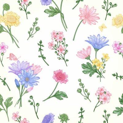 Tapeta Jednolite wzór z kwiatów.
