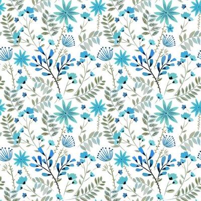 Tapeta Jednolite wzór z kwiatów polnych, liści, trawy w niebieskich, czarnych i jasnych kolorach