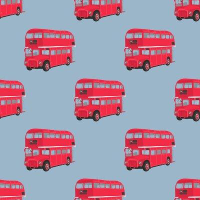 Tapeta Jednolite wzór z londyńskim czerwonym autobusem. Piętrowy ilustracji wektorowych czerwony autobus. Miasto transportu publicznego. Retro-bus na niebieskim tle