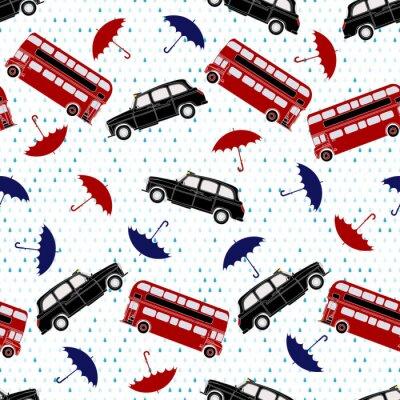 Tapeta Jednolite wzór z piętrowych autobusów, taksówek i parasole un