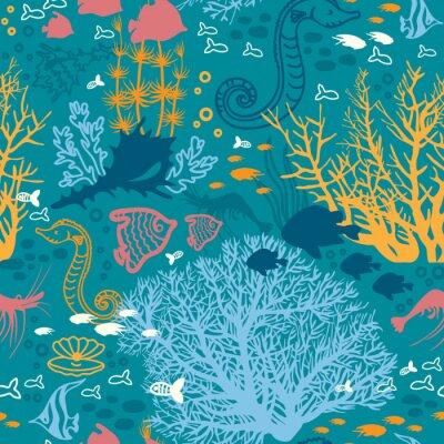 Tapeta Jednolite wzór z podwodnego koralowców i ryb.